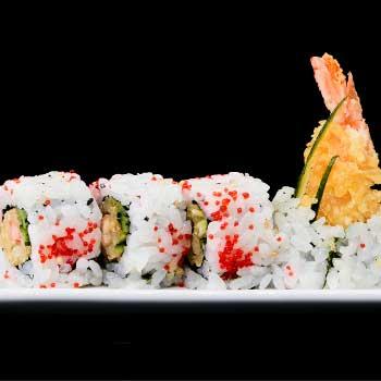 "</p> <div class=""title_menu"">URAMAKI EBI</div> <p>tempura di gambero, tobiko,cetriolo, salsa teriyaki B,D,G<br /><strong>5,50€</strong></p> <p>"