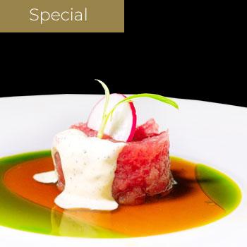 "</p> <div class=""title_menu"">Truffle tartare</div> <p> Tono maionese tartufo, ponzu, olio di verdure</p> <p><strong>7,00€</strong>"