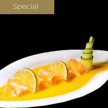 "</p> <div class=""title_menu"">Carpaccio Exotico</div> <p> Salmone succo passion fruit</p> <p><strong>6,00€</strong>"