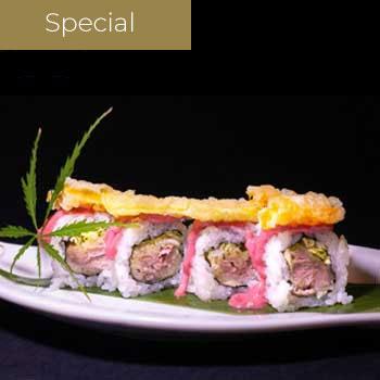 """</p> <div class=""""title_menu"""">Ura pink</div> <p> Tonno, insalata, fiori di zucca, Mayo alla ciliegia</p> <p><strong>5,50€</strong>"""